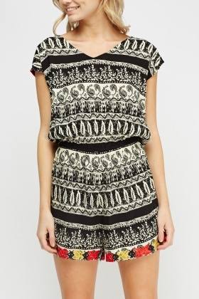 Mix Print Elasticated Playsuit