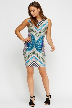 Mix Print Sleeveless Bodycon Dress
