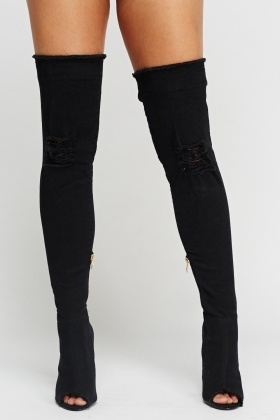 Wlady Distressed Peep Toe Over The Knee Boots