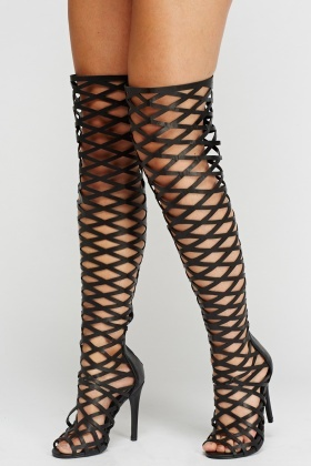 Wlady Laser Cut Over The Knee Peep Toe Boots
