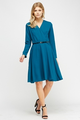 Wrap Belted Swing Dress