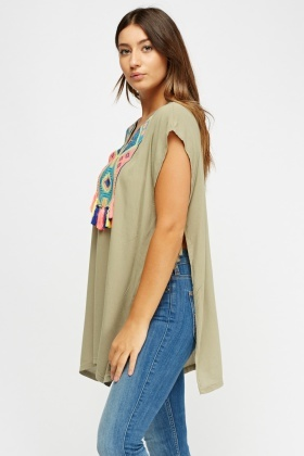 Aztec Stitched Pom Pom Cover Up