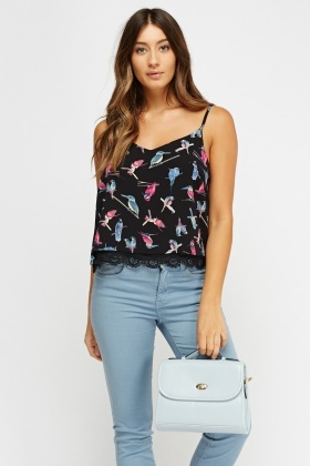 Bird Printed Crochet Hem Cami Top