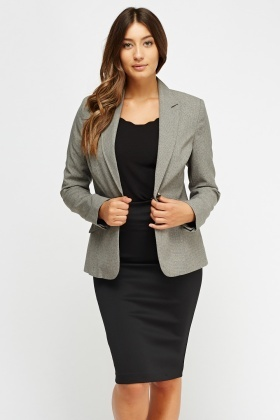 Grey Formal Lapel Front Blazer