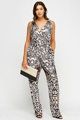 Mixed Print Plunge Jumpsuit