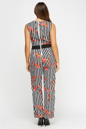 Mixed Print Wrap Jumpsuit