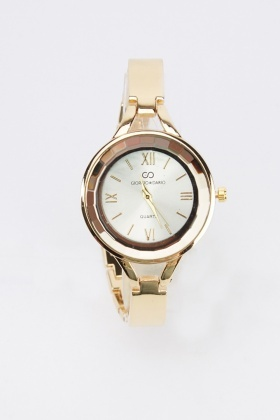 Contrast Strap Circle Watch