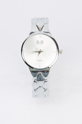 Encrusted Face Metal Strap Watch