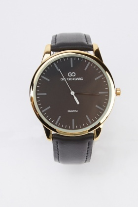 Faux Leather Circle Face Watch