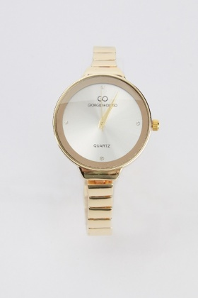 Round Face Metal Skinny Strap Watch