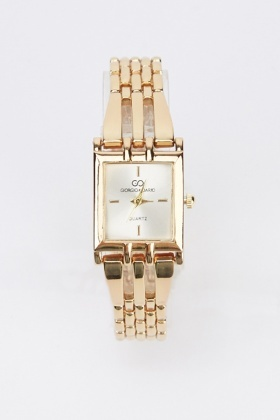 Square Face Metal Strap Watch