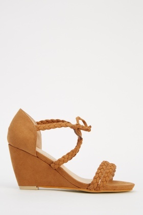 Woven Tied Wedged Sandals