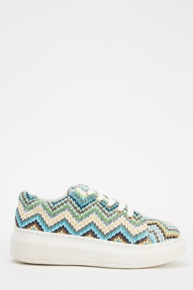 Zig Zag Lace Up Woven Shoes