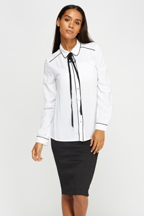 Contrast Trim Ribbon Tie Neck Shirt