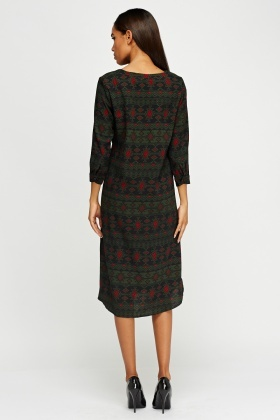 Ethnic Print Shift Midi Dress