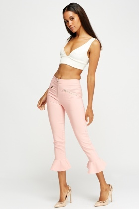 Frilled Hem Trousers