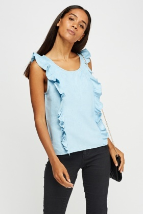 Frilled Side Suedette Top