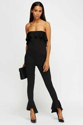 Frilled Trim Bandeau Jumpsuit