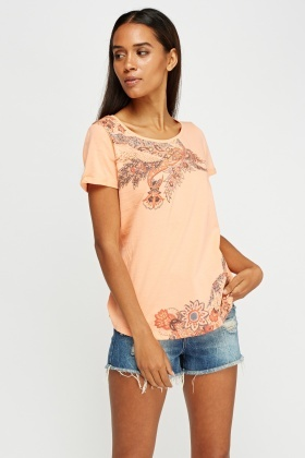 Mix Print Front Casual T-Shirt