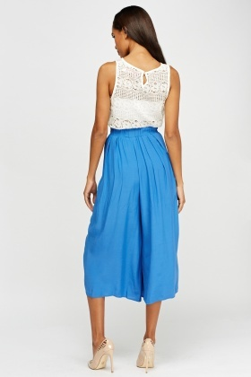 Pleated Blue Culottes