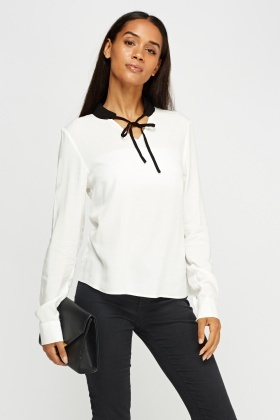 Tie Up Neck Collar Blouse