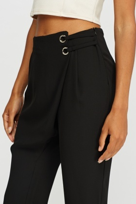 Wrap Front Cropped Trousers
