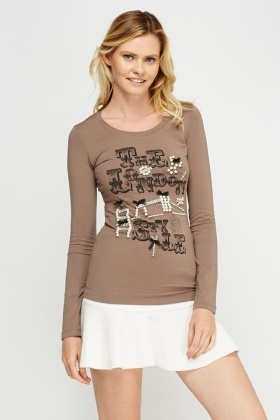 Beaded Logo Print Long Sleeve Top