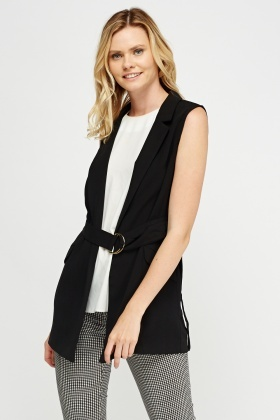 Black Belted Longline Sleeveless Top