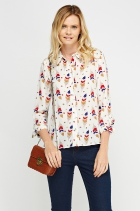 Feather Print Sheer Blouse
