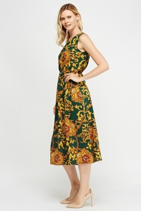 Mixed Print Swing Midi Dress