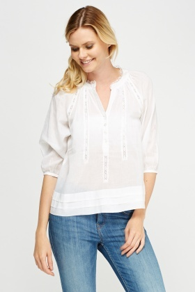 Pleated Hem Embellished Cotton Blend Blouse
