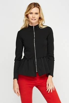 Zip Up Peplum Hem Top