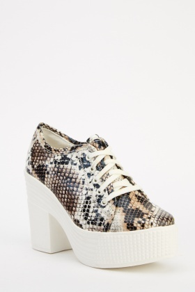 Animal Print Lace Up Platformed Shoes