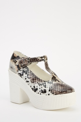 Animal Print T-Bar Platformed Shoes