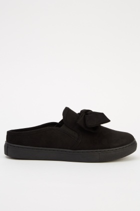 Bow Suedette Slip On Shoes