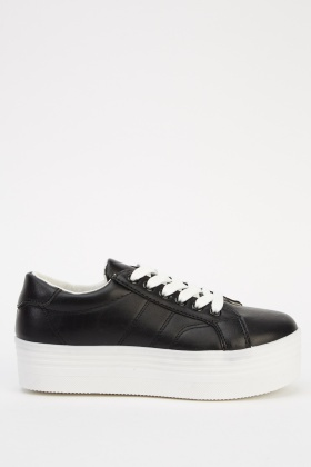 Faux Leather Lace Up Platformed Shoes