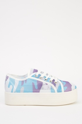 Mesh Camouflage Flatform Trainers