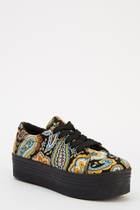 Paisley Print Lace Up Platform Shoes