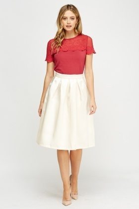 Box Pleat Midi Skirt