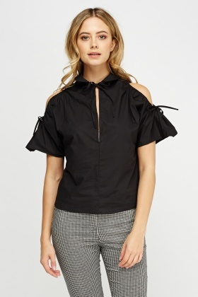 Cut Out Flared Shoulder Top