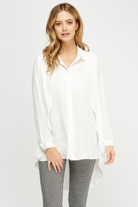 Dip Hem Button Up Blouse
