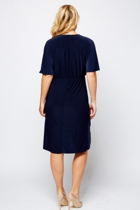 Embroidered Flower Appliqué Navy Dress