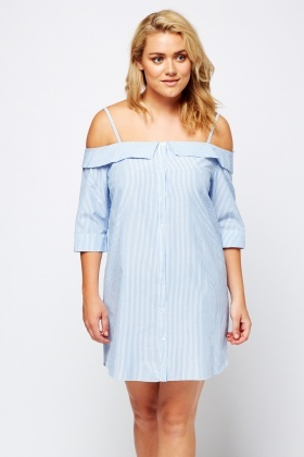 Flared Cold Shoulder Shift Dress