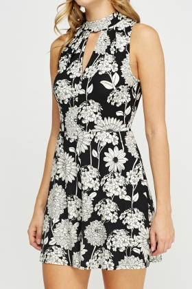 High Neck Printed Playsuit