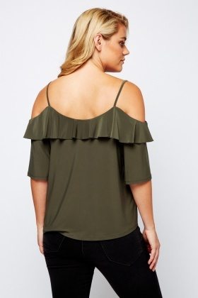 Olive Flared Cold Shoulder Top