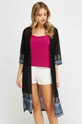 Sheer Printed Longline Cover Up