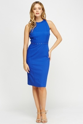 Textured Embellished Waist Pencil Dress