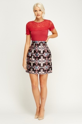 Aztec Box Pleat Skirt