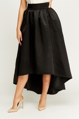 Box Pleat Dip Hem Midi Skirt
