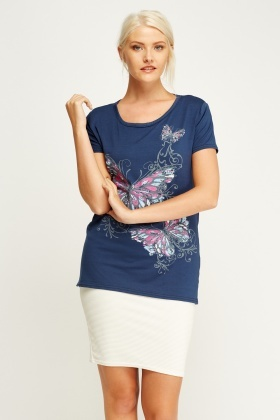 Butterfly Print Casual Top